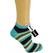 Super Stripey Trainer Socks - Blue and Green Stripes