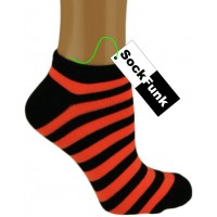 Super Stripey Neon Orange Trainer Socks
