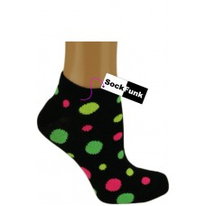 Neon Yellow Pink and Green Spotty Trainer Socks