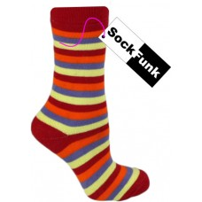 Super Stripey Thermals! Red with Orange, Purple and Yellow Stripes