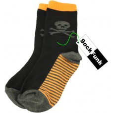 Black Skull Design With Orange Sole Socks