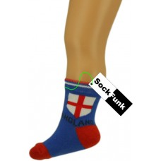 Football Design Ankle Socks Blue with England Flag