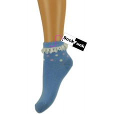 Trainer Ankle Socks with Lace Trim - Blue with Multi Coloured Spots