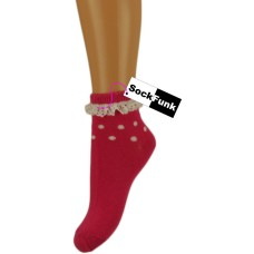 Trainer Ankle Socks with Lace Trim - Dark Pink with White Spots