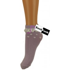 Trainer Ankle Socks with Lace Trim - Lilac with White Spots