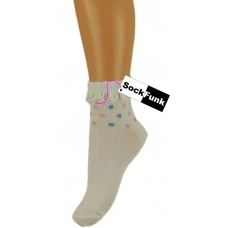 Trainer Ankle Socks with Lace Trim - White with Multi Coloured Spots