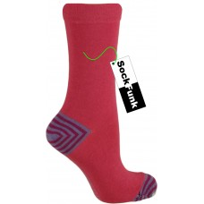 Pink with stripey heel ankle socks by Jennifer Anderton