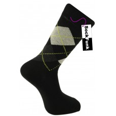 Argyle Socks by Pierre Calvini- Black with Yellow Dots