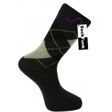 Argyle Socks by Pierre Calvini- Grey with Yellow Dots