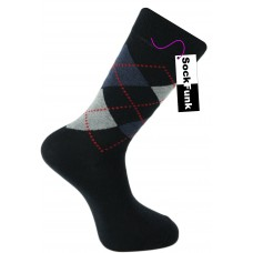 Argyle Socks by Pierre Calvini- Navy with Red Dots
