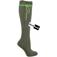 Grey Over the Knee Sock with Neon Green Ribbon