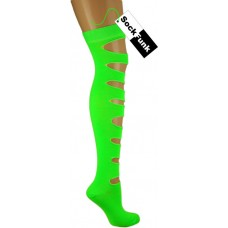 Neon Green Ripped Effect Over The Knee Socks