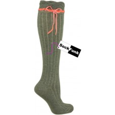 Grey Over the Knee Sock with Neon Orange Ribbon