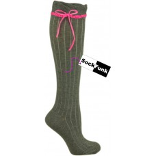Grey Over the Knee Sock with Neon Pink Ribbon