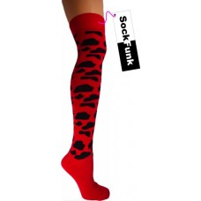 Animal Print Socks Red with Black Spots