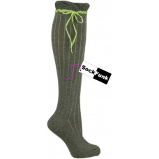 Grey Over the Knee Sock with Neon Yellow Ribbon
