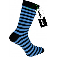 Super Stripey Neon Blue Teddy Boy Socks