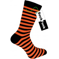 Super Stripey Neon Orange Teddy Boy Socks