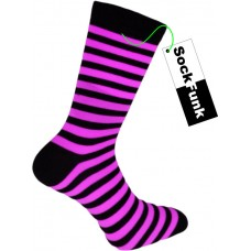 Super Stripey Neon Pink Teddy Boy Socks