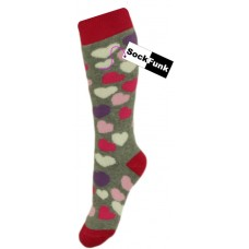 Welly Socks - Grey with Heart Design